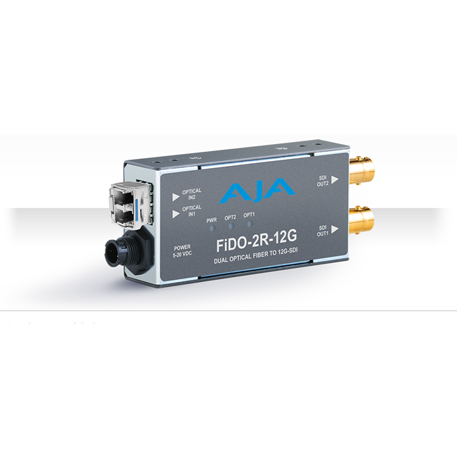 AJA: FIDO-2R-12G 2-Channel Single-Mode LC Fiber to 12G-SDI Receiver