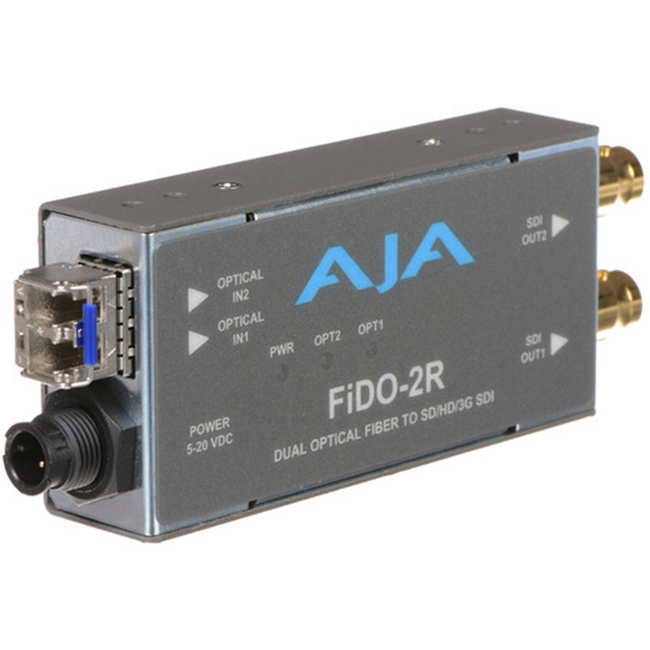 AJA: FIDO-2R-X Dual Channel LC Fiber to SDI converter, (Multi-Mode SFP) *