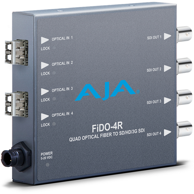 AJA: FIDO-4R 4-channel Optical Fiber to 3G-SDI-LC fiber connectors