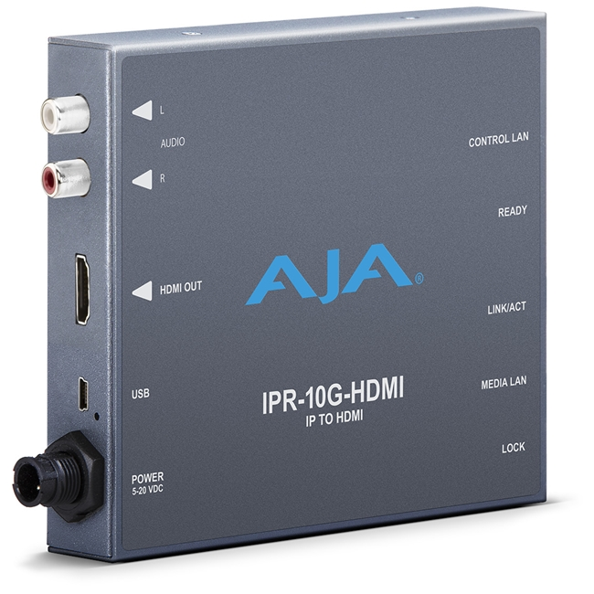 AJA: Single Channel SMPTE 2110 Video and Audio IP Decoder to HDMI 1.4b (HD)