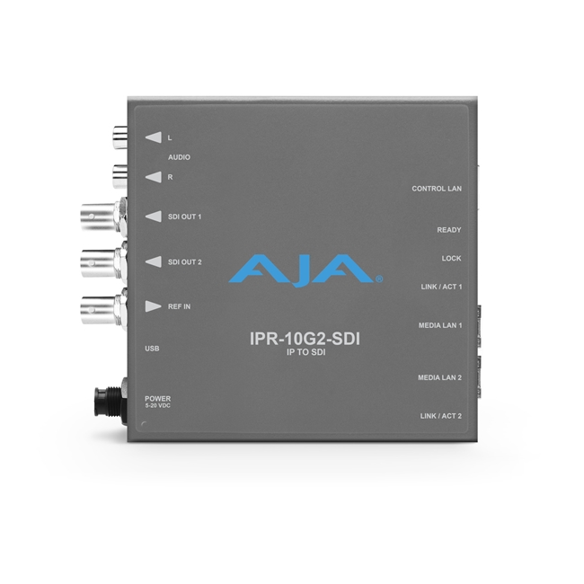 AJA: Single Channel SMPTE ST 2110 Video and Audio IP Decoder to SDI 1.4b (HD) with hitless switching