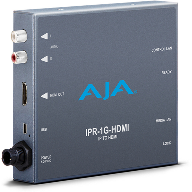 AJA: IPR-1G-HDMI JPEG 2000 IP Video and Audio to HDMI Mini-Converter