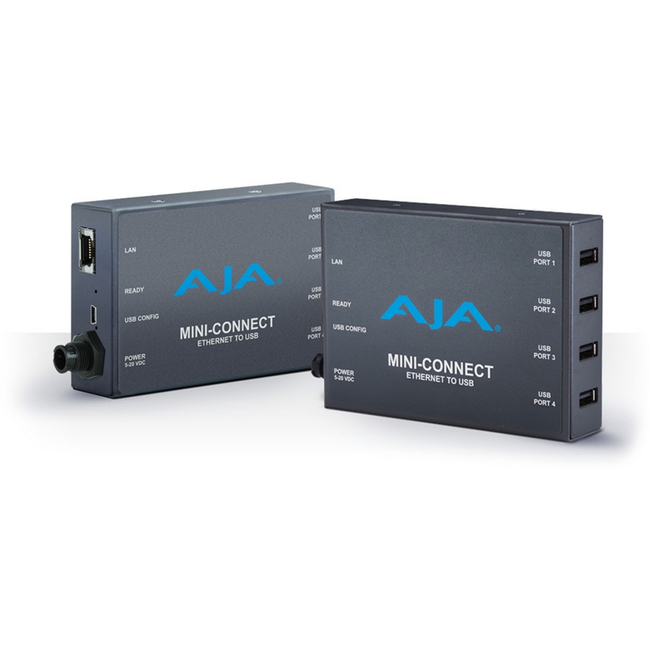 AJA: MINI-Connect Ethernet (RJ-45) to 4 USB, enables Ethernet control/status of ROI devices