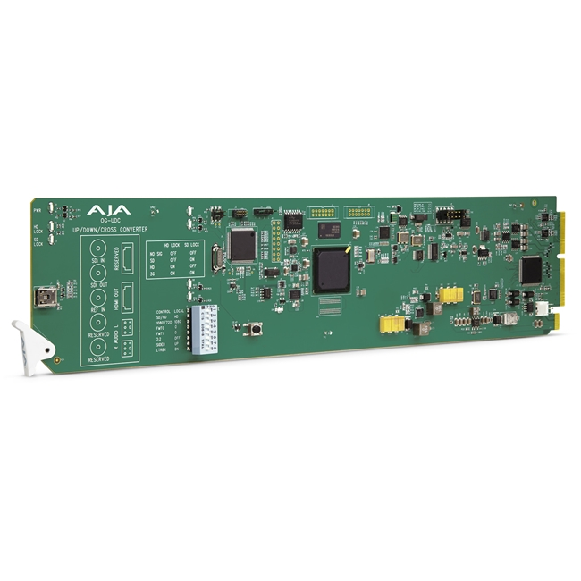 AJA: OG-UDC 3G-SDI up, down, cross-conversion, 2-Ch unbalanced audio output, DashBoard Support