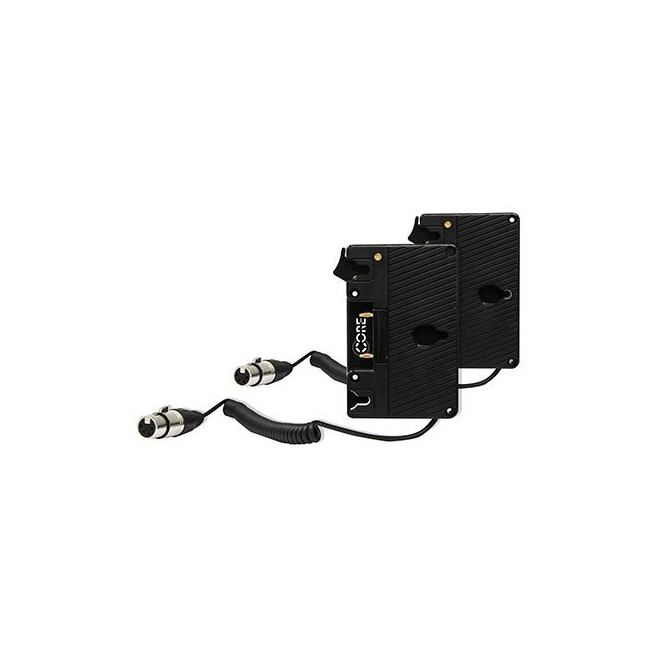 CoreSWX Double Gold mount kit with coiled powertap to XLR 4-pin for Atomos Sumo