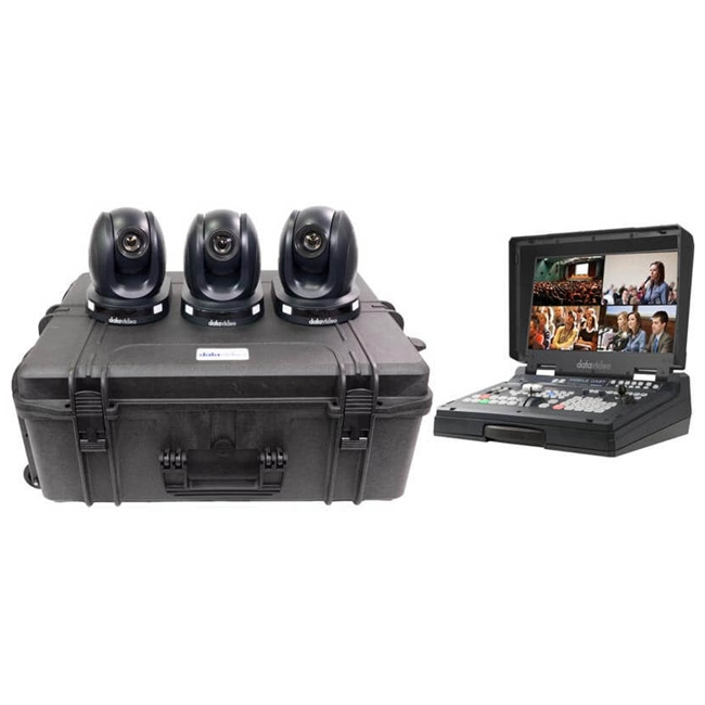 Datavideo 3 x PTC-140T HDBaseT PTZ Camera and custom foam hardcase with HS-1600T 4-Channel HD/S...