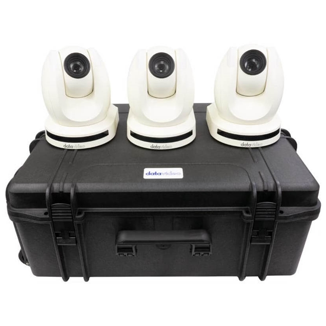 Datavideo 3 x PTC-150TLW HDBaseT PTZ Camera without HBT-11 and custom foam hardcase.