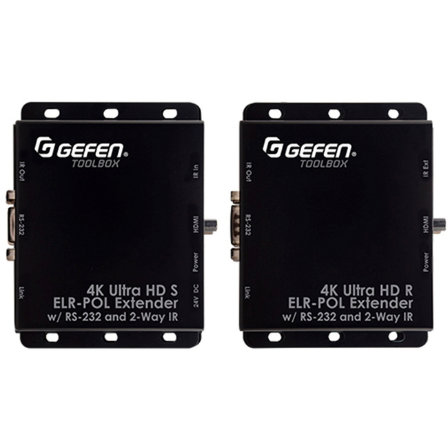Gefen: 4K Ultra HD ELR-POL Extender w/RS-232 and 2-way IR Kit