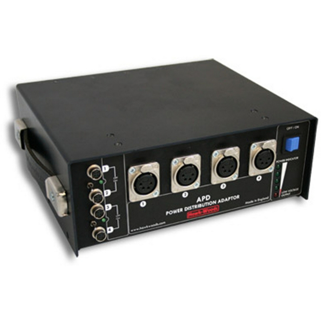 Hawk-woods: APD - Audio Power Distribution Box — 6 x NP1 — Outputs: 4 XLR & Hirose