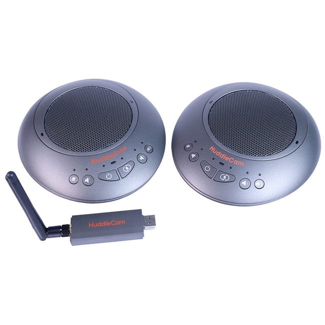 Huddlecam: Dual Wireless USB Speakerphones paired with a single wireless receiver (Silver)