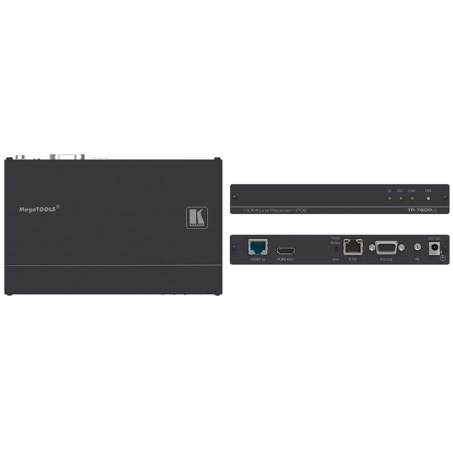 Kramer: TP-780RXR 4K 60Hz HDMI, RS-232, IR over HDBaseT Receiver with POE