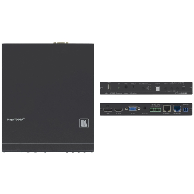 Kramer: VP-428H2 4K60 4:4:4 HDCP 2.2 DisplayPort, HDMI & VGA Auto Switcher/Scaler & PoE Provider over HDBaseT