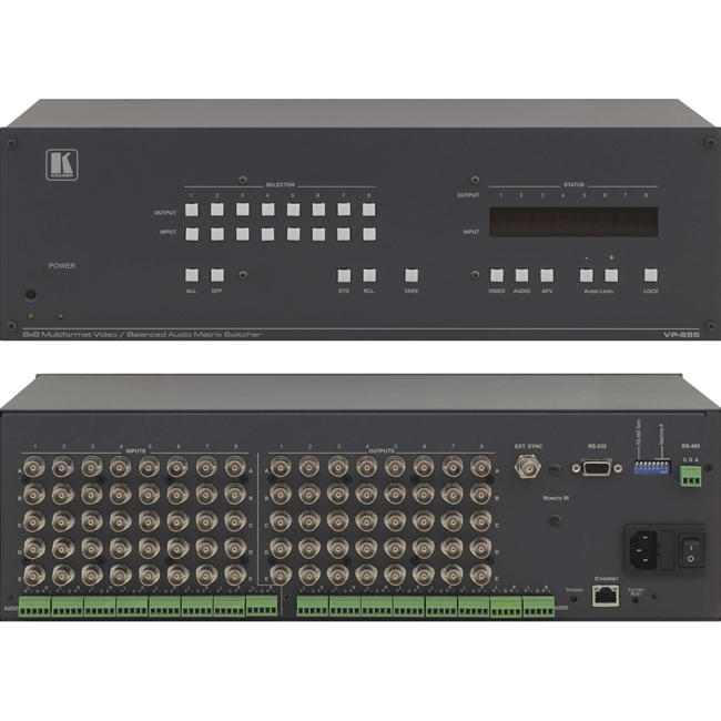 Kramer VP-885: 8x8 Multiformat Video / Analog & Digital Audio Matrix