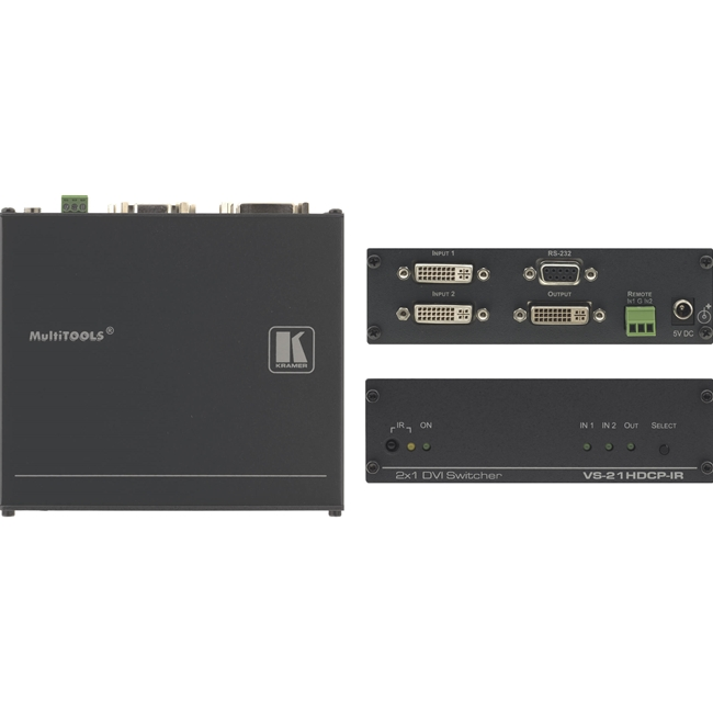 Kramer VS-21HDCP-IR: 2x1 DVI Switcher (ReClocking) c/w IR control
