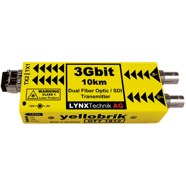 Lynx Technik: OTT-1812 (yellobrik) Dual Channel 3G/HD/SD-SDI to Fibre Optic Transmitter (Singlemode, 1310nm, LC connect...