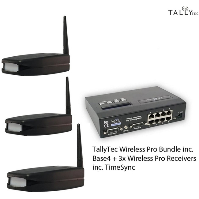 Tally Technologies: TallyTec Wireless Starter Pack inc. Base4 + 3x Wireless Pro Receivers inc. TimeSync