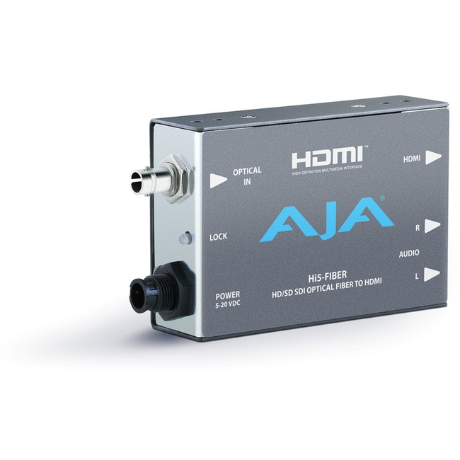 AJA: HI5-FIBER HD-SDI over Fibre to HDMI Converter