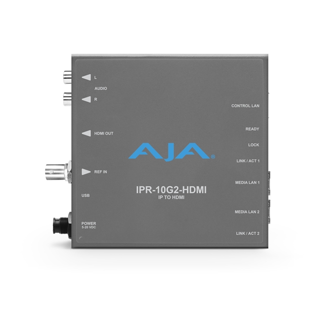 AJA: Single Channel SMPTE ST 2110 Video and Audio IP Decoder to HDMI 1.4b (UltraHD/HD) with hitless ...