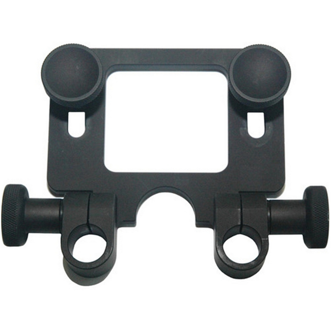 AJA: KI-MINIRDNPLT 15mm rod mount plate that attaches to a Mini Mounting Plate