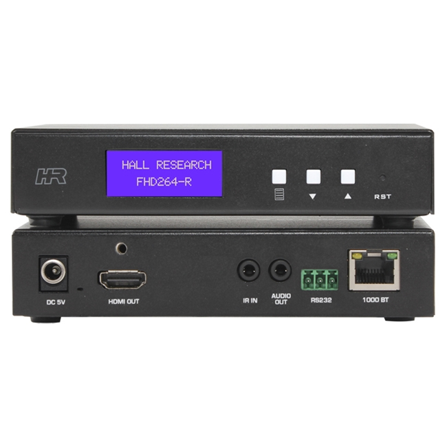 Hall Research: AV and control over IP Receiver with Extracted Audio, RS232 over IP & IR