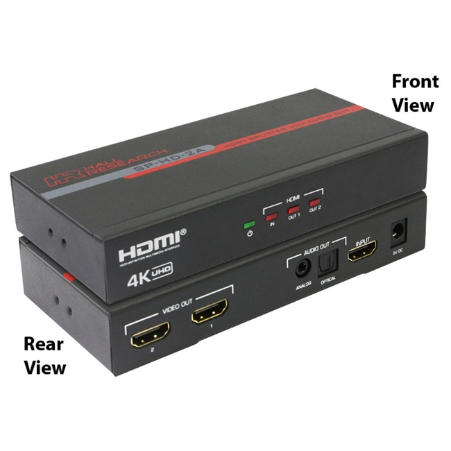 Hall Research: 2-Channel HDMI Splitter with Analog and Optical Audio Output and 4K Support