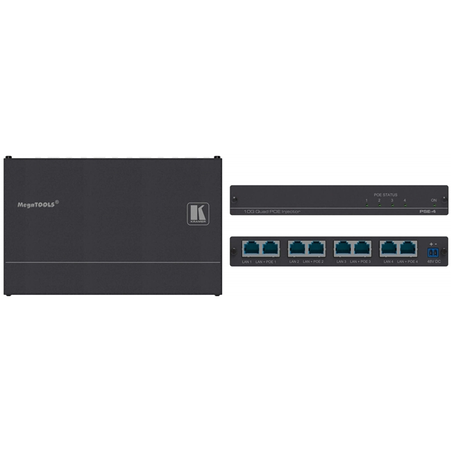 Kramer: 10Gb UHD Power over Ethernet Injector 4-Way