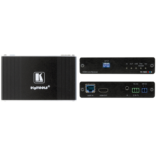 Kramer: TP-789R 4K60 4:2:0 HDMI Bidirectional PoE Receiver with RS-232 & IR over Long-Reach HDBaseT