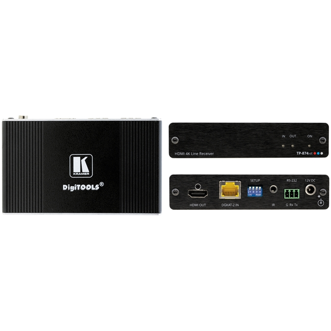 Kramer: TP-874XR 4K HDR HDMI PoC Receiver with RS-232 & IR over Long-Reach DGKat 2.0