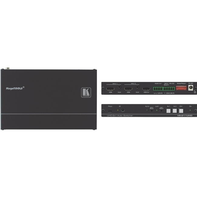 Kramer VS-211UHD: 4K 60Hz 2x1 Auto HDMI Standby Switcher RS-232 (PCS)