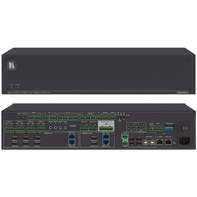 Kramer: VS-84UT 4K 60Hz 8x4 All-in-One Presentation System  HDMI/HDBaseT 2.0 Matrix Switching