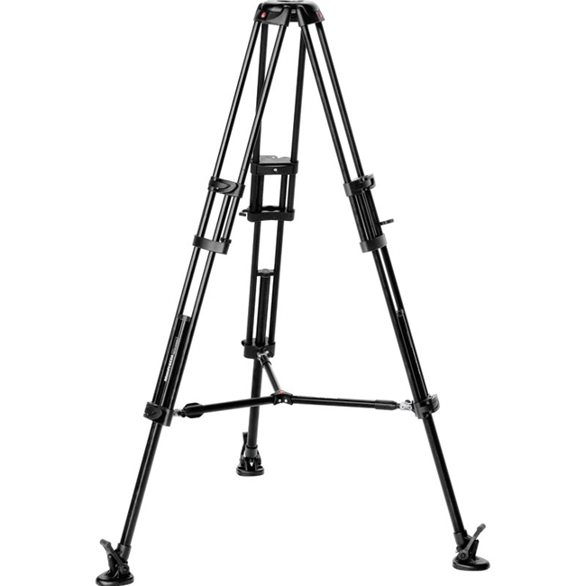 Manfrotto: MAN-546B Aluminium Video Tripod with 2 Risers and Twin Legs