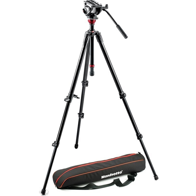 Manfrotto: MAN-MVH500AH+755XBK MVH500AH Fluid Head & 755XB Tripod with Carrying Bag