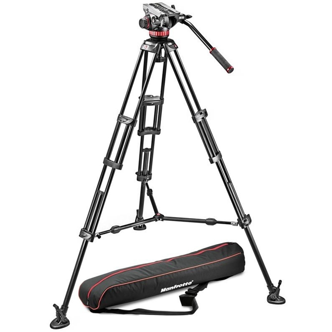 Manfrotto: MAN-MVH502A+546BK-1 Aluminium Tripod with Sliding Plate | MVH502A Video Head