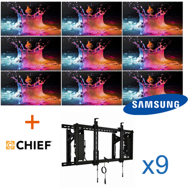3x3 Video Wall System with 55 Inch Displays and Wall Brackets (500 c/d)