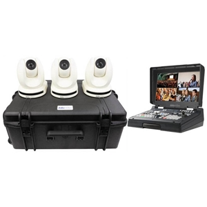 Datavideo 3 x PTC-150TLW HDBaseT PTZ Camera and custom foam hardcase with HS-1600T 4-Channel HD...