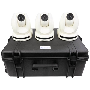 Datavideo 3 x PTC-150TW HDBaseT PTZ Camera with HBT-11 and custom foam hardcase.